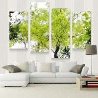 4 Panel Modern Tree Paintings Canvas Decoracion Pictures Cuadros Wall Art Home Decor For Living Room Prints Unframed PRF1012