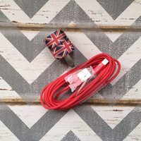 New Super Cute British Flag Design USB Wall Connector + 10ft Red Cable Cord