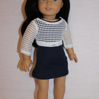 2 piece set! grey navy mini tank dress, white mesh crop top with silver sparkle , 18 inch doll clothes, American girl, Maplelea