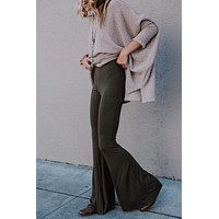 Cher Solid Raw Edge Flare Pant - Olive