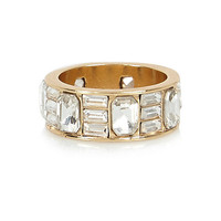 River Island Womens Gold tone baguette cut crystal ring