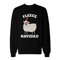 Fleece Navidad Funny Christmas Graphic Sweatshirts - Unisex Black Sweatshirt
