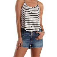 Combo Button-Up Striped Swing Tank Top by Charlotte Russe