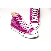 Hot Fuchsia Pink Starlight Sequin High Top Sneakers