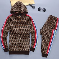 Casual Simple Men Top Sweater Hoodie Pants Drawstring Trousers Set Two-Piece