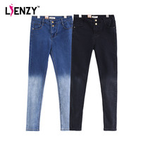 Spring Gradient Pencil Jeans High Waist Two Button Slim Stretch Skinny Women Long Black Denim Pants For Summer