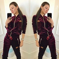 NIKE Women Fashion Cardigan Jacket Coat Pants Trousers Set Two-Piece