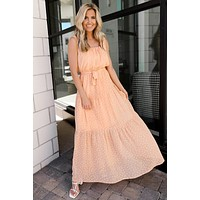 Your Undivided Attention Polka Dot Maxi (Peach)