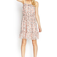 LOVE 21 Ruffled Floral Cami Dress Pink/Ivory