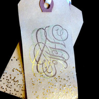 Vintage Distressed Glitter Hang Gift Tags, Stamped Hello, Tea Stained Manila Tags, Rustic, White Ribbon, Gold, Set of 10 Tags