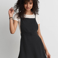 AEO Printed Apron Dress, Black