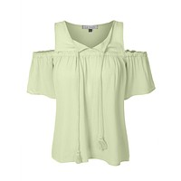 Loose Fit Short Sleeve Cut Out Shoulder Tassel Tie Blouse Top (CLEARANCE)