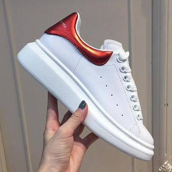 Alexander McQueen Trending Woman Casual Leather Sneakers Sport Shoes(Red Tail)