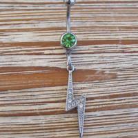 Belly Button Ring - Body Jewelry - Silver Rhinestone Lightning Bolt with Lt. Green Gem Stone Belly Button Ring