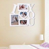 """ADECO PF0002 4-Opening White Wooden Wall Hanging Collage Photo Picture Frames - Holds 3.5x5 4.5x5 4x6 5x7 Inch Photos,Saying """"I LOVE YOU"""",Best Gift"""