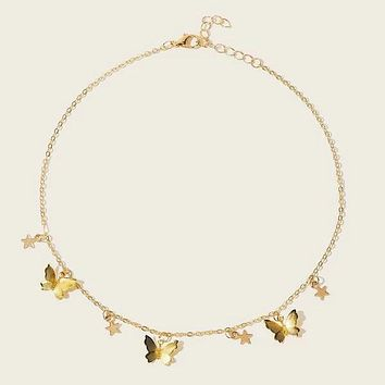 Fashion Casual Butterfly Star Decor Chain Necklace