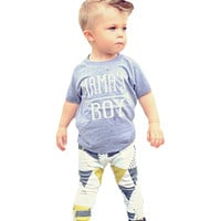 2017 Toddler Boys Clothing Set Letter Arrow T Shirt+Geometry Pants 2pcs Kids Baby Clothes Summer Style Mama's Boy Clothing Sets