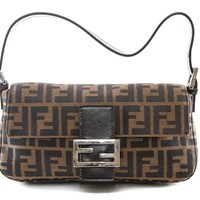 Authentic Fendi Brown Zucca FF pattern shoulder bag