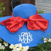 Monogrammed Wide Aqua Blue Derby Hat