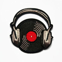 Music Patches - Iron on Patch DJ - Music Lover Gift - Vinyl Records Embroidered Patches Record Patch - Headphones Patch - Rockability Patch