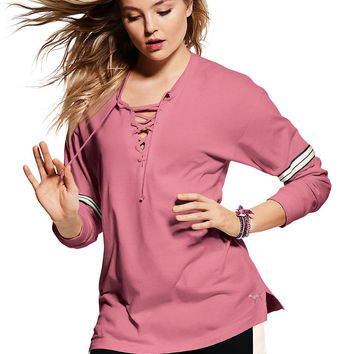 Lace-Up Long Sleeve Campus Tee - PINK - Victoria's Secret