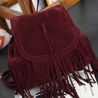 Wine Red Matte-Leather Tassel Backpack