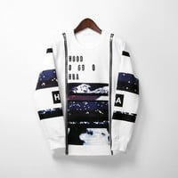 Mens Abstract Graphic Print Double Zip Sweatshirt at Fabrixquare