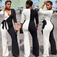 Wrap Jumpsuit Elegant Long Sleeve Wide Leg Pants Winter Sexy Belt Overalls Women Clubwear Party Trendy Romper Female White Black