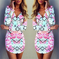 Women Fashion Summer Sexy Long Sleevess V-neck Bodycon Evening Party Mini Dress = 1956547204
