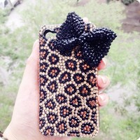 3D handmade bling diamond crystal leopard bow for iPhone 4/4s case
