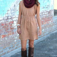 Charmer Suede Dress {Camel}