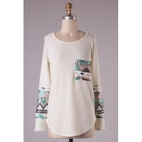 Aztec Sequins On the Sleeve Top