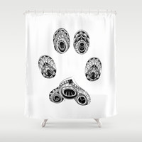 Cat Paw Print Shower Curtain by LouJah