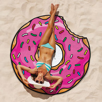 BIG MOUTH GIGANTIC PINK DONUT BEACH BLANKET