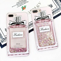 Phone Case For X iPhone 7/8 plus 6plus Fashion Luxury Girl Pink Bling Perfume Bottle Quicksand Dynamic Liquid Glitter Back Cover
