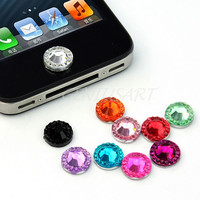 10 Bling Rhinestone Home Button Stickers For Apple iPod Touch iPhone 3GS 4 4S 5G