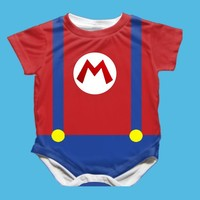 Handmade Mario Brothers Onesuit - Available 0-24 Months