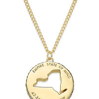 kate spade new york State Of Mind Gold-Tone State Cutout Pendant Necklace   macys.com