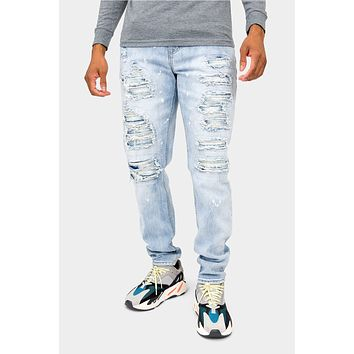 Distressed Paint Splattered Faded Jeans