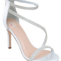 Silver Metallic Jeweled Strappy Platform Sandal Formal Heels Women's