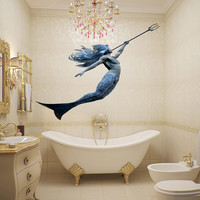 Full color decal Neptune mermaid sticker, Neptune colored wall art decal gc396