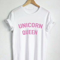 Women Unicorn Queen Print T-Shirts Top +Free Gift -Random Necklace-128