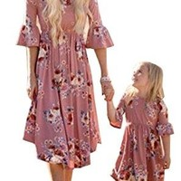 Family Matching Flower Print O-Neck Bell Sleeve Long Dress Mommy and Me One Piece Spring Fall Dress