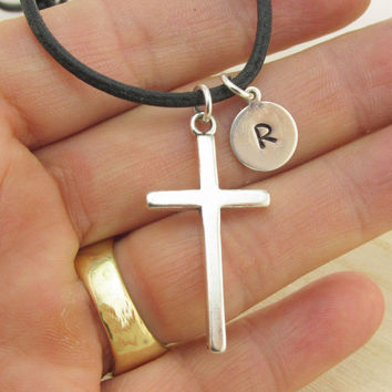 Personalized Mens Cross Necklace, Male Jewelry, Mens, Fathers Day Present, Gift for your Boyfriend, Teenager, Necklace for Him, Christian