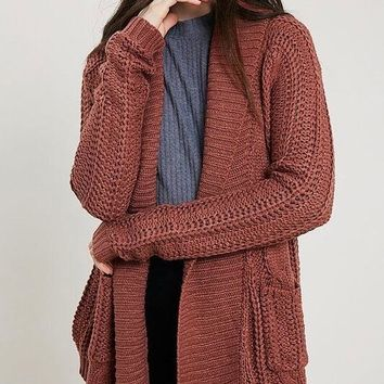 Open Front Cable Knit Sweater Cardigan - Brick
