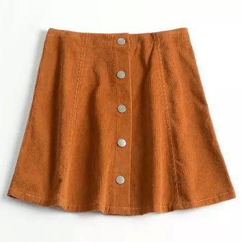 Fashion High Waist Single-Breasted Corduroy Skirt with Buttons