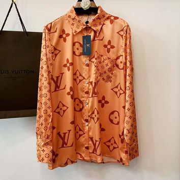 LV Louis Vuitton Fashionable Women Casual Print Long Sleeve Top Shirt