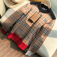 Burberry New fashion plaid women long sleeve top sweater