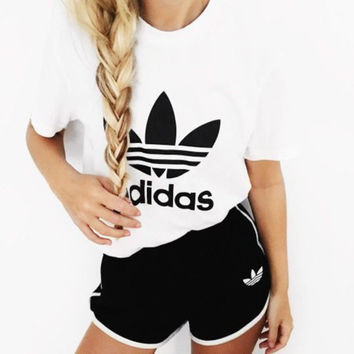 """Adidas"" White T- Shirt Black Shorts Two-piece Set"
