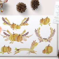Watercolor Fall Clipart Pumpkins wreaths and antlers. Watercolour Clip art Autumn graphics images with wreaths and laurels instant download